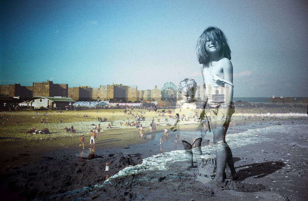 collage, old photos, film, fine art, American dream, Coney Island, childhood