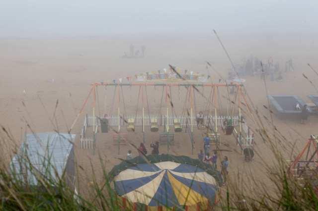 Broadstairs, mist, beach, sand