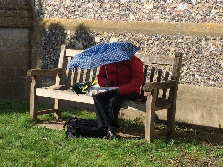 umbrella, sun, Church, woman, Hambleden, Easter Monday, Buckinghamshire