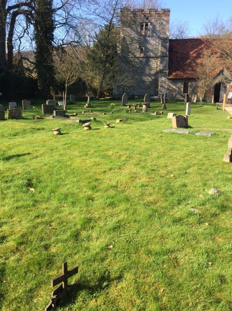 Cemetery, graves, green, Turville, Buckinghamshire
