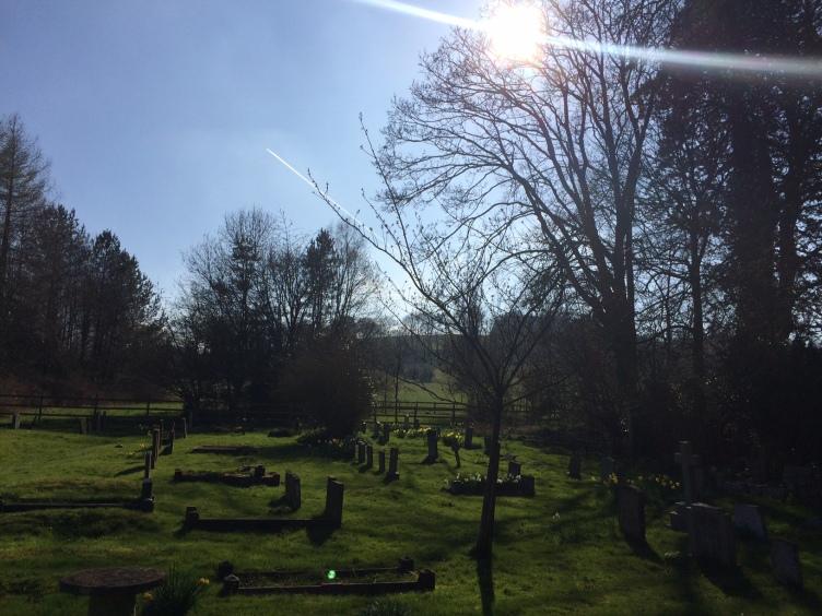 Cemetery, Turville, Church, graves, sun, trees