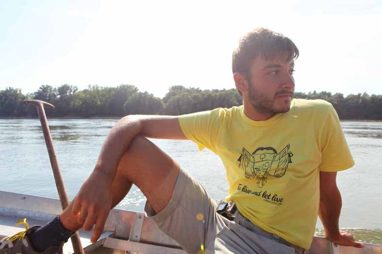 Alex on one of the two Liberland boats before landing