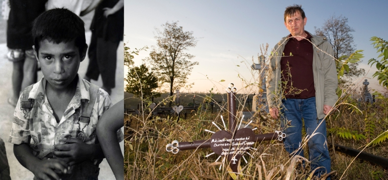 Carmen Bobocel when she was 10 in 1995. She passed away the year after. She was sent to hospital in Iasi because she had a chest infection. She died a few weeks later of medical neglect. Dan, her carer at the orphanage, mourns in front of her grave.