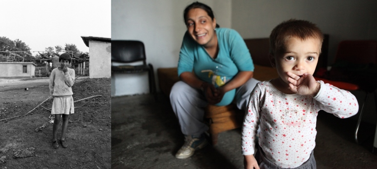 Diamanta when she was 9 in 1993 outside the orphanage and in 2011 with her 2 years old son. She then lived in a sordid squat without any electricity nor water and was pregnant, about to deliver. Both fathers had left her.