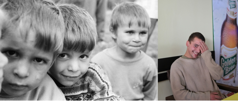 Dodo (Georghe Stingaciu) -in the middle on the photo- in 1995 when he was 5 at the orphanage and in 2011, aged 20, in a bar in Popricani. Dodo is a builder. He used to work with his biological father in a village near Iasi but didn't get on with him at all.