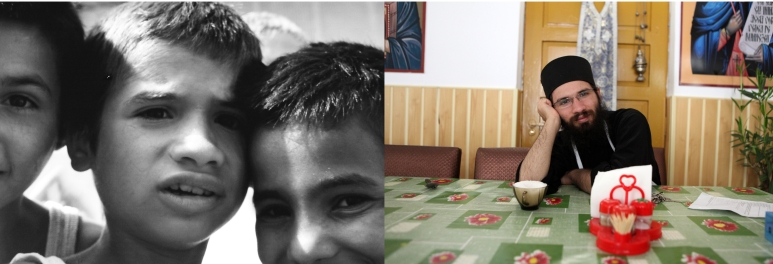 Dragos at the orphanage in 1993 when he was 8 and in 2011 at the Sihla Monastery in Bucovina. Dragos has always been very religious and chose to become an Orthodox monk when he was 19. He has been living in Sihla since 2005. He works in the kitchen and looks after the dining room.