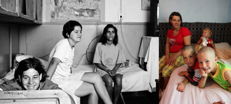 Liliana Condrea -left on the picture- at the age of 16 in 1997 in her dormitory at the orphanage. She has always lived in Popricani. She has 3 children and lives with her partner in a tiny room at their in-laws.