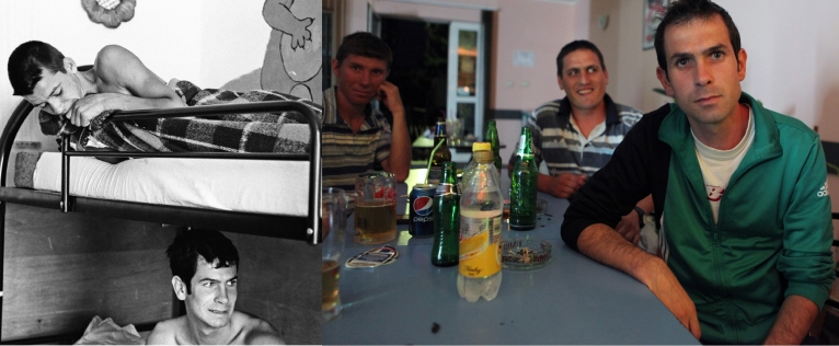 Marian Juverdeanu -left on the picture- in his dormitory in 1997 when he was 16 and at the bar in Popricani bar with friends from the orphanage. Marian works as a cleaner in a shopping mall in Iasi and lives in a flat he shares with others in Popricani.