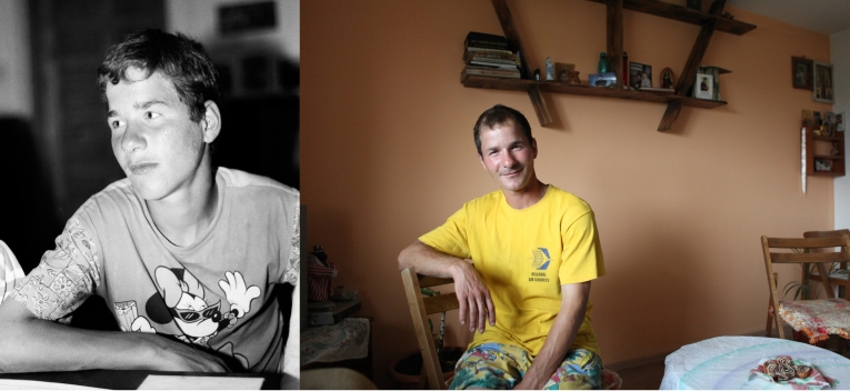 Mihai Gabriel at the orphanage when he was 12 in 1995 and now in his house in Popricani. He works in Iasi in a supermarket and has managed to save money to buy a piece of land and build his own house.