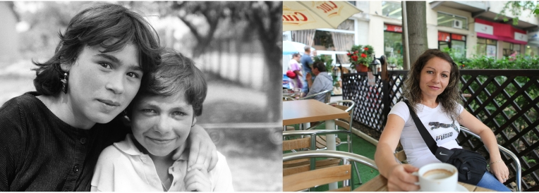 Ramona Gogu -right on the picture- when she was 9 in 1993 with a friend at the orphanage in Popricani and in Iasi at a café in 2011. She is married with one child. With her husband they run a convenience shop in Iasi open 24 hours.