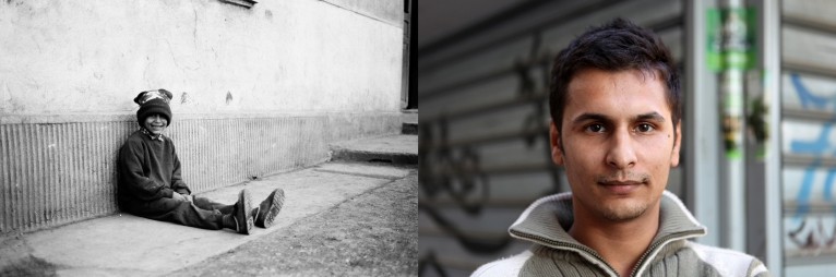 Remus Stanica when he was 8 in 1995 at the orphanage in Popricani and in 2011 on a street in Iasi. Remus is Ramona's brother. He trained as a carpenter but works in a clothes factory. Ramona and Remus have another younger brother, Adrian.