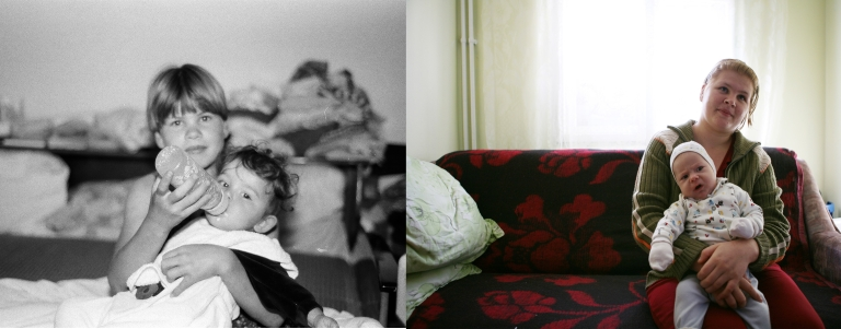 Roxana Furnica when she was 12 in 1997 and in October 2009 with her new-born boy. She married an ex-orphan from Popricani who works as a carpenter in Iasi.