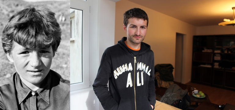 Vasile Siriteanu in 1995 when he was 11 in Popricani at the orphanage and in 2011 in his flat in Iasi. Vasile works as a sales representative. He lives in a flat he inherited from an old couple he was very close to.