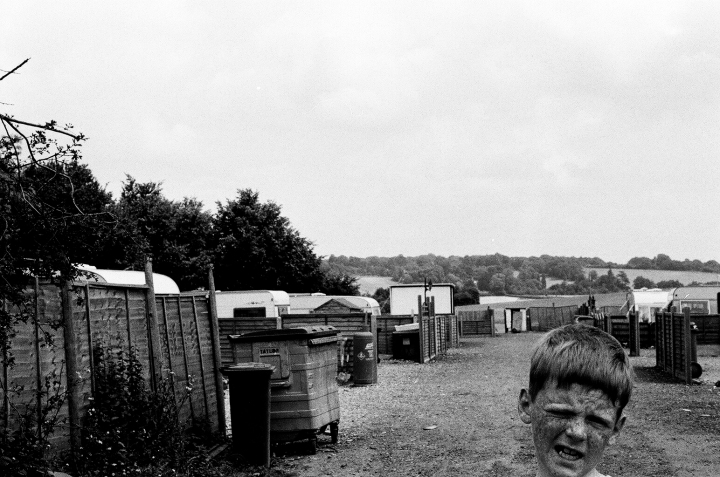 Irish Travellers living on the Cow Roast illegal Irish Travellers site, near Tring (Hertfordshire), a few days before the 20 Irish Travellers families were evicted in July 2003.